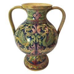 20th Century Renaissence Revival Polychrome Drawings Pottery Gualdo Tadino Vase