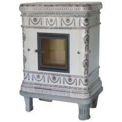 19th Century German Antique Cast Iron Tiled Manganese Stove / Oven, circa 1830