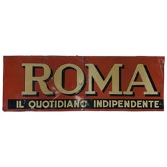 1950s Italian Vintage Transferpinted Red and Cream Roma Newspaper Sign