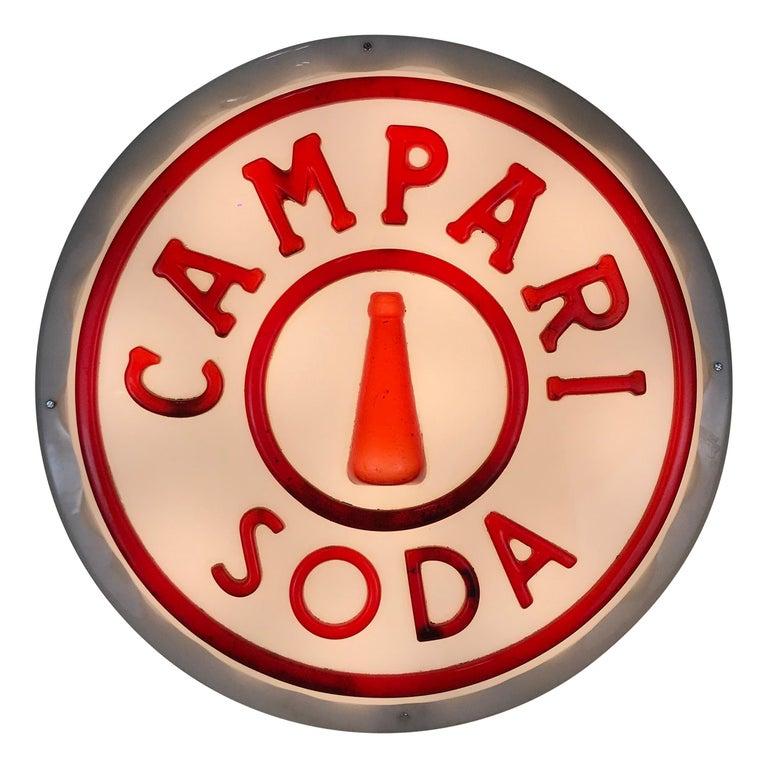 1950s Vintage Italian White and Red Campari Soda Illuminated Plug Shaped Sign