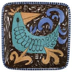 Mari Simmulson for Upsala-Ekeby, Sweden, Art Pottery Dish, Colorful Bird