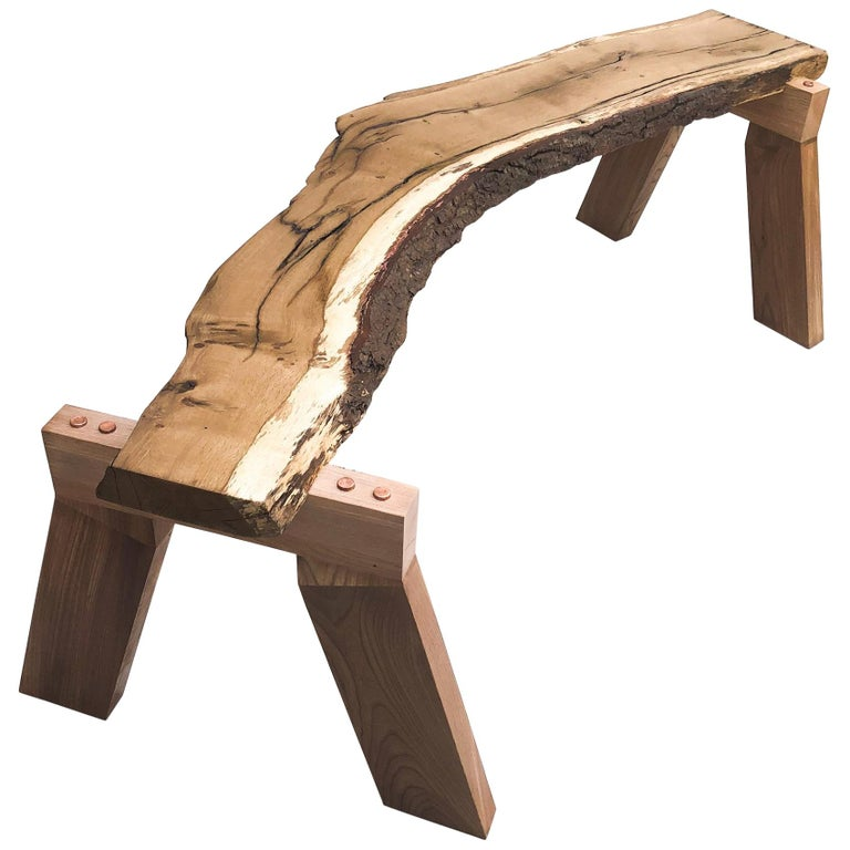 Handcrafted Bench in Oak and Elm with Copper Detail