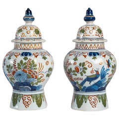 Late 18th Century or Early 19th Century Delft Polychrome Pair of Vases