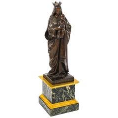 Antique Large French Bronze of Sainte Maria by De Beaumont, 19th Century