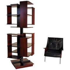 1960s Rosewood Armchair and Bookshelf Original De Carli Salocchi, Sormani, Italy