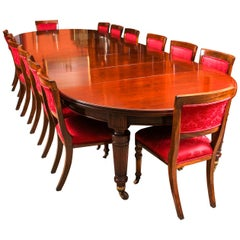 Antique Victorian Circular Extending Dining Table and 14 Chairs, 19th Century