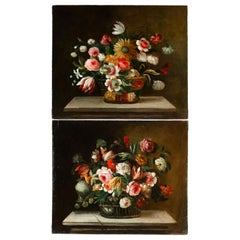 Late 18th Century French School Pair of Oil on Canvas Bouquets of Flowers