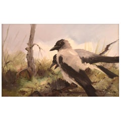 Per Åkered, Sweden, Oil on Canvas, Two Magpies