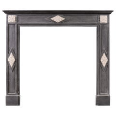 French Directoire Fireplace in Grey Bardiglio Marble