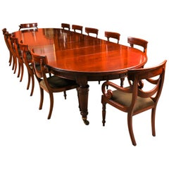 19th Century Victorian Extending Dining Table and 12 Bespoke Swag Back Chairs