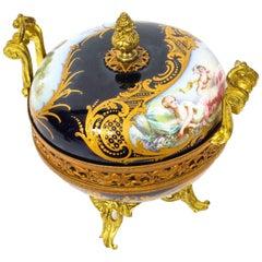 Antique Sevres Royal Bleu Porcelain Pot-Pourri Urn Stamped, 1846, 19th Century