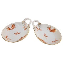 """Herend  """"Happy Fish"""" Pair of Hand-Painted Hungarian Porcelain Shells, Modern"""