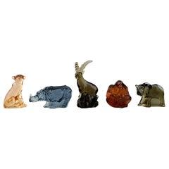 "Paul Hoff and K. Engman for ""Svenskt Glass"", Five Art Glass Figures"
