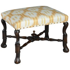 17th Century Style Walnut Stool in the Charles II Manner
