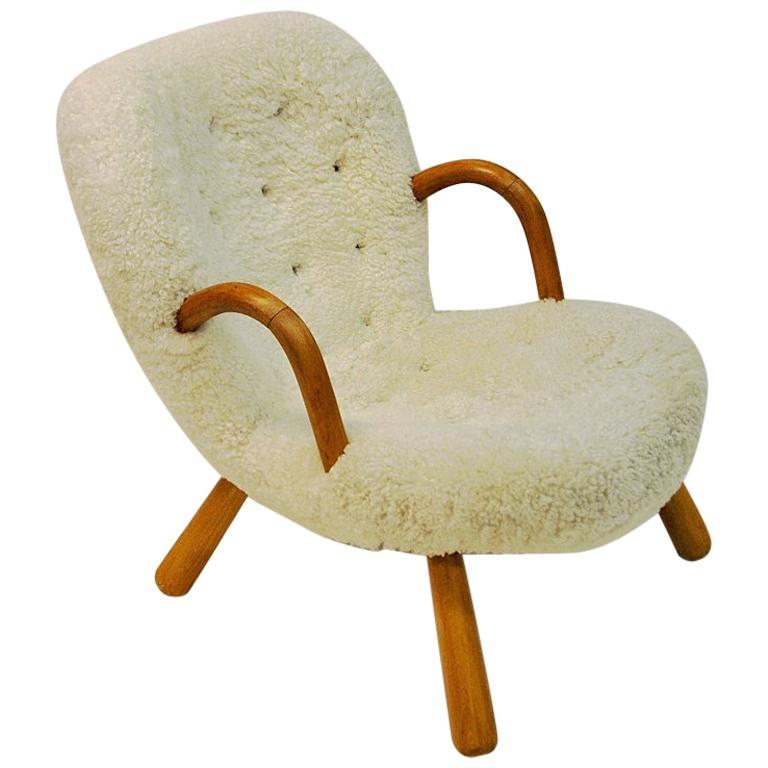 Philip Arctander Clam Chair in Sheepskin 1940s, Denmark