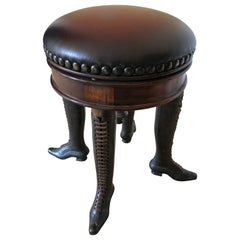 Wonderfully Whimsical Rotating Leather Top Stool with Bronze Lady's Boot Legs