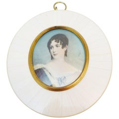 Miniature Painting, Ivory, Desiree of Sweden, 19th Century