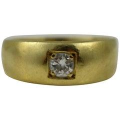 Diamond Set 18-Carat Gold Signet Ring