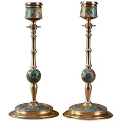 Pair of Gilt Bronze and Champleve Enameled Candlesticks by Barbedienne