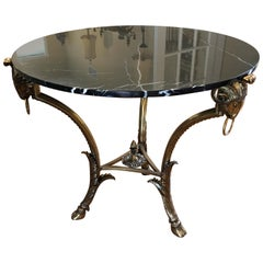 Glamorous La Barge Black Marble With Ram's Head Motif Brass Centre Round Table