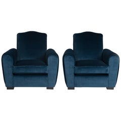 Pair of French Art Deco Armchairs or Club Chairs in Turquois Velvet from Rubelli