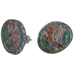 Pair of Giovanni De Simone Handles Ceramic Multicolor Design Mid-Century Modern