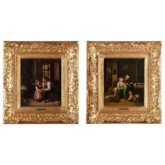 Two Intimist Scenes by Felix Van den Eycken 'Belgian, 19th Century'