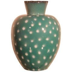 Italian Great Vase Ceramic Design 1950 Green, White Points