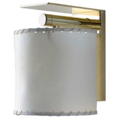 Series02 Small Sconce, Polished Unlacquered Brass, Goatskin Parchment Shade