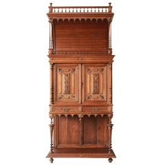 Antique Carved Oak Tall French Bar Cabinet