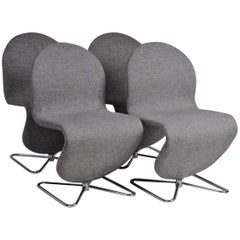 Space Age Verner Panton Set of Four Chairs 123 Serie Fritz Hansen Wool Fabric