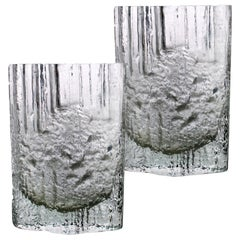 Pair of Tapio Wirkkala for Iittala Ice Glass Vases