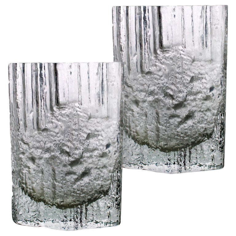 Pair of Tapio Wirkkala for Iittala Ice Glass Vases For Sale