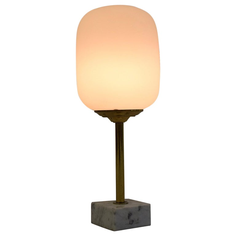 Midcentury Brass and Marble Table Lamp