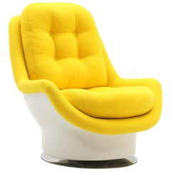 Mod Swivel Tilt Lounge Chair, Milo Baughman, White with Yellow Knoll Upholstery
