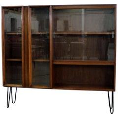 Midcentury Danish Modern Walnut Glass Door Bookcase/Shelf on Hairpin Legs