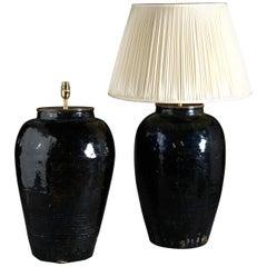 Large Pair of Ceramic Vases as Lamp Bases