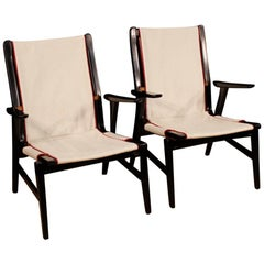Carlo de Carli 20th Century Wood and White Fabric Italian Design Armchairs, 1960
