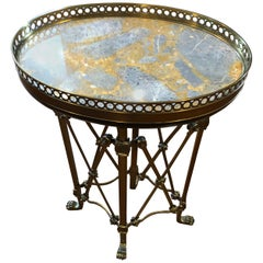 Gem of an Oval Marble Top and Brass End Table Drinks Table