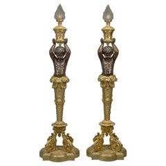 Pair of Napoléon III Gilt Bronze Torcheres by Goelzer and Poumaroux, circa 1890