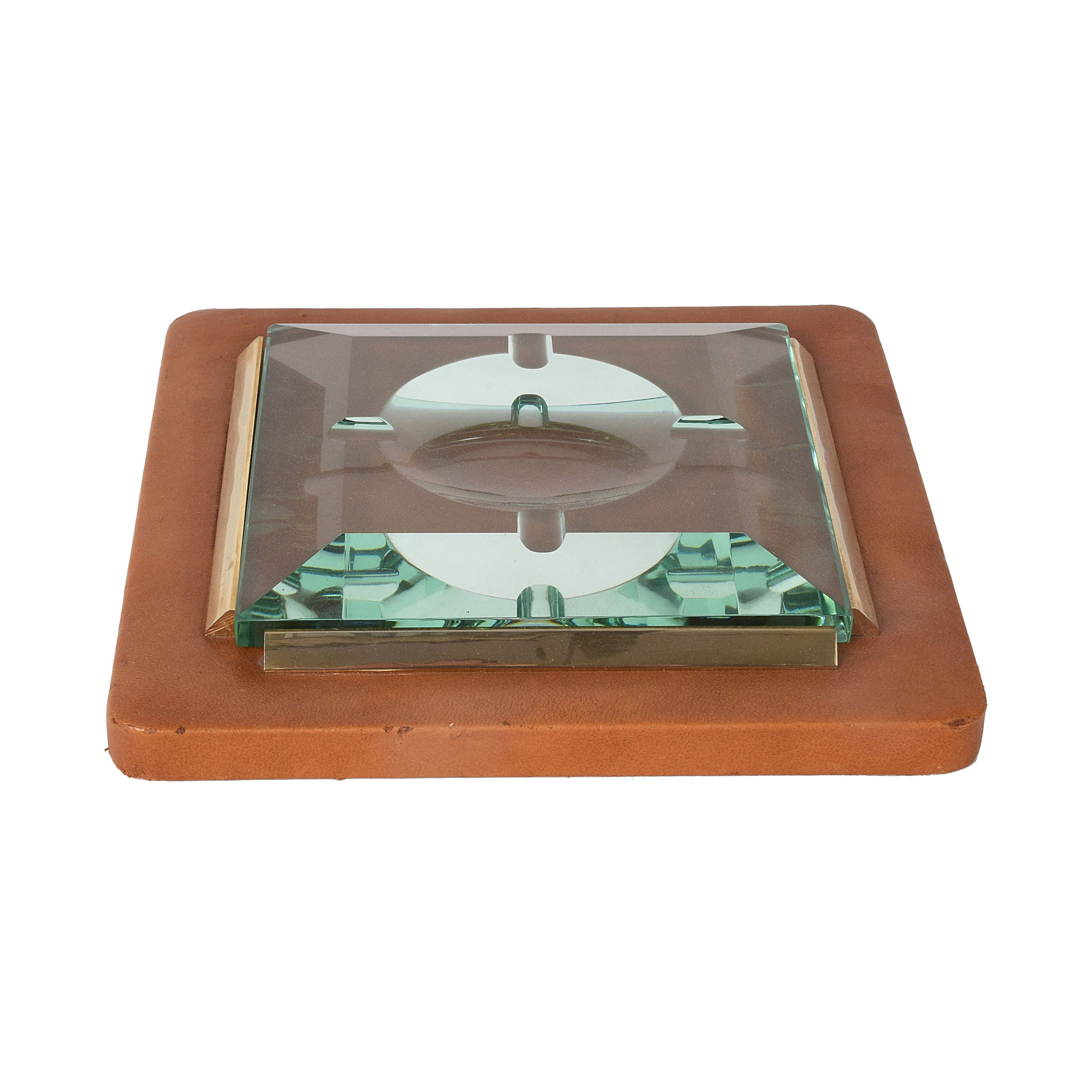 Fontana Arte 1970s, Ashtray in Leather, Brass and Faceted Glass, Italy Art Glass