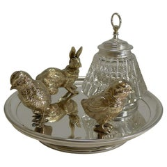 Magnificent Antique English Inkwell / Rabbit and Chicks, circa 1890
