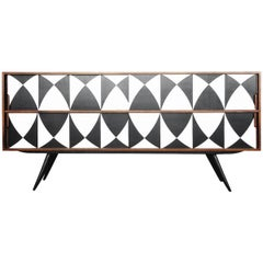 Vintage Dual Walnut Sideboard with Hand Painted Pattern, 1960s