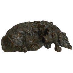 Charming Antique Bronze Vide Poche/Dish, Dog With Glass Eyes