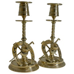 Handsome Pair of Antique Novelty Equestrian Candlesticks, circa 1890