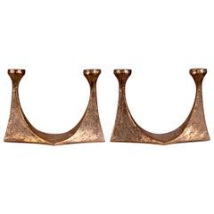 Mid-Century Modern Harjes German Massive Bronze Candlesticks
