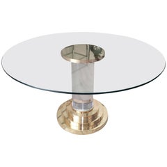 Lucite and Brass Dining Table in the style of Romeo Rega, Italy, 1970s
