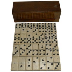 Antique English Boxed Set Bone and Ebony Wood Dominoes, circa 1900