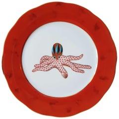 "Herend ""Octopus"" Hand-Painted Hungarian Porcelain Dessert Plate, Modern"