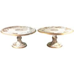 Pair of 19th Century Nymphenburg Porcelain Pedestal Compote Cake Plates